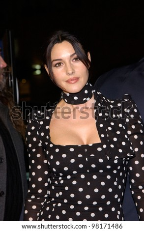 Actress MONICA BELLUCCI at the world premiere, in Los Angeles, of Hart's War. 12FEB2002.  Paul Smith/Featureflash - stock photo