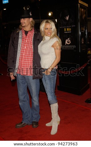 Actress PAMELA ANDERSON & pop star boyfriend KID ROCK at the world premiere of 8 Mile, in Los Angeles. 06NOV2002.   Paul Smith / Featureflash - stock photo