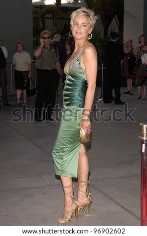 Actress SHARON STONE at the world premiere, in Hollywood, of her new movie Catwoman. July 19, 2004
