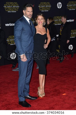 "Actress Sofia Vergara & husband Joe Manganiello at the world premiere of ""Star Wars: The Force Awakens"" on Hollywood Boulevard. December 14, 2015  Los Angeles, CA Picture: Paul Smith / Featureflash - stock photo"