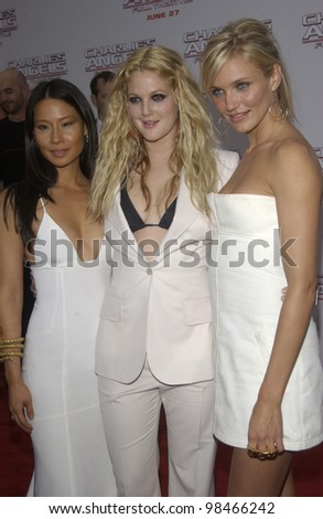 Actresses LUCY LIU (left), DREW BARRYMORE & CAMERON DIAZ at the Hollywood premiere of their new movie Charlie's Angels: Full Throttle. June 18, 2003  Paul Smith / Featureflash
