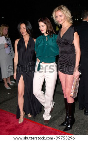 Actresses LUCY LIU (left), DREW BARRYMORE & CAMERON DIAZ at the world premiere of their new movie Charlie's Angels, at the Mann's Chinese Theatre in Hollywood. 22OCT2000.  Paul Smith / Featureflash - stock photo