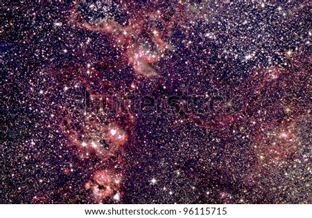 Actual astrophotograph. Deep sky sky view Tarantula Nebula. Only from Southern Hemisphere skies.remote telescope in Australia. Hydrogen Alpha filter enhances nebulosity. 3.5 hrs total exposure HaRGB - stock photo
