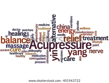 Acupressure, word cloud concept on white background. - stock photo