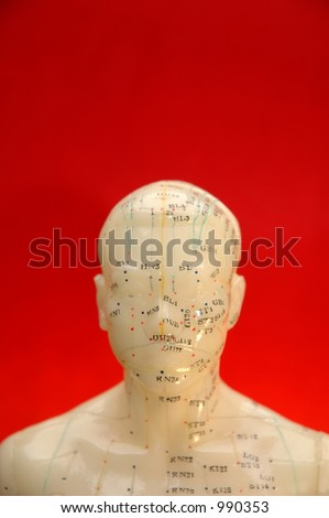 Acupuncture model head with red background. - stock photo