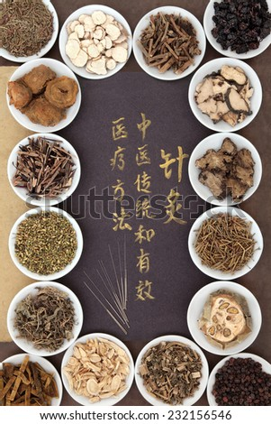 Acupuncture needles with chinese herbal medicine selection and calligraphy script. Translation describes acupuncture chinese medicine as a traditional and effective medical solution.  - stock photo