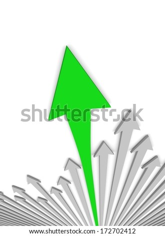 Acute arrows with leader. Concept. 3d illustration.