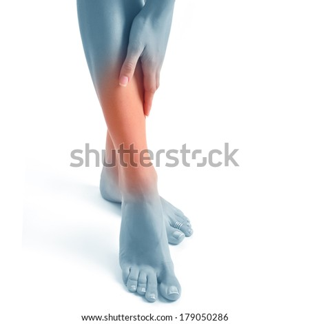 Acute pain in a foot. Sport trauma. Isolated. - stock photo