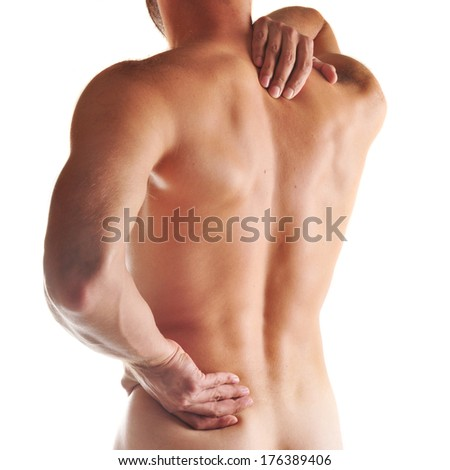 Acute pain in a neck at the young man - stock photo
