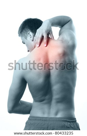 Acute pain in a neck. Isolated on white background - stock photo