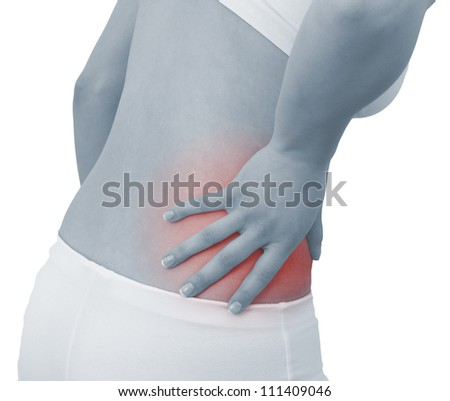 Acute pain in a woman abdomen. Female holding hand to spot of Abdomen-ache. Concept photo with Color Enhanced blue skin with read spot indicating location of the pain. Isolation on a white background.