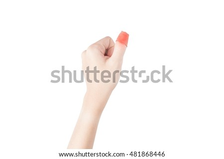 Acute pain in a woman finger isolated on white background. Clipping path on white background