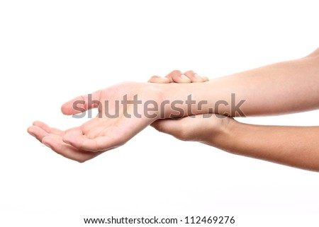 Acute pain in a woman hand - stock photo
