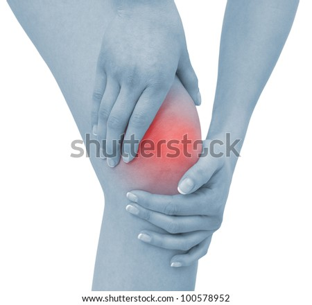 Acute pain in a woman knee. Concept photo with blue skin with read spot indicating pain. Isolation on a white background - stock photo