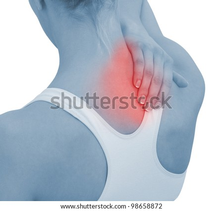 Acute pain in a woman neck. Female holding hand to spot of neck-aches. Concept photo with Color Enhanced blue skin with read spot indicating location of the pain. Isolation on a white background. - stock photo