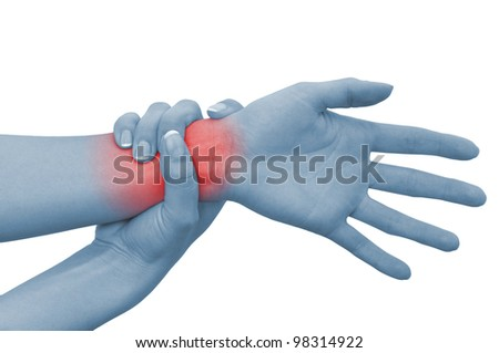 Acute pain in a woman wrist. Concept photo with blue skin with read spot indicating pain. Isolation on a white background