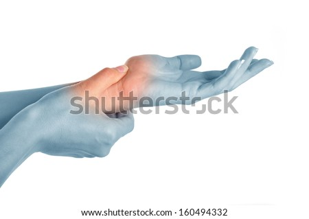 Acute pain in a women hand - stock photo