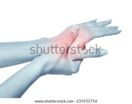 Acute pain in a women hand. Isolation on a white background  - stock photo