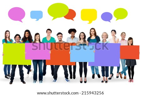 Ad concept, colorful boards and speech bubbles - stock photo