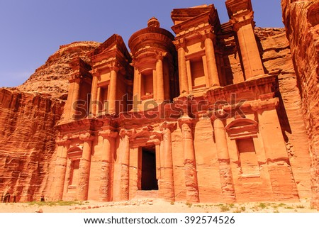 Ad Dayr Monastery, Petra, one of the New Sewen Wonders of the World, Jordan - stock photo