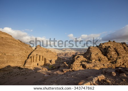 Ad Deir, The Monastery Temple of Petra, Jordan - stock photo