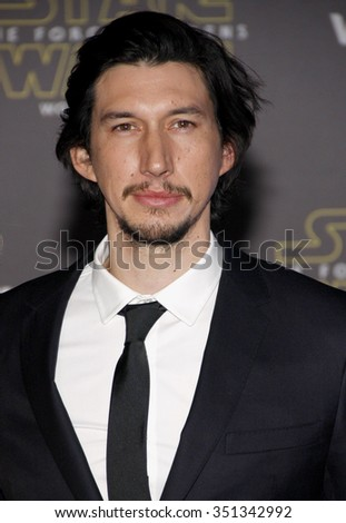 Adam Driver at the World premiere of 'Star Wars: The Force Awakens' held at the TCL Chinese Theatre in Hollywood, USA on December 14, 2015. - stock photo