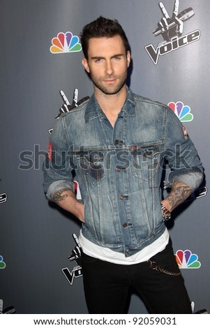 "Adam Levine  at NBC's ""The Voice"" Press Conference, LA Center Studios, Los Angeles, CA. 03-15-11 - stock photo"