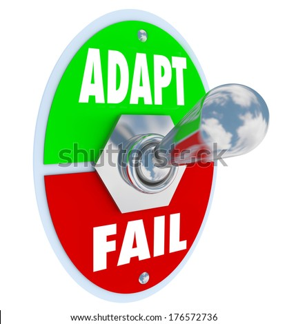 Adapt Vs Fail Toggle Switch Change Success Survival - stock photo