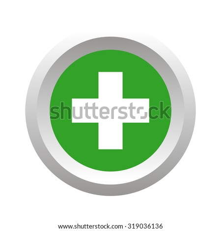 Add button, round, volumetric, colored, isolated on white - stock photo