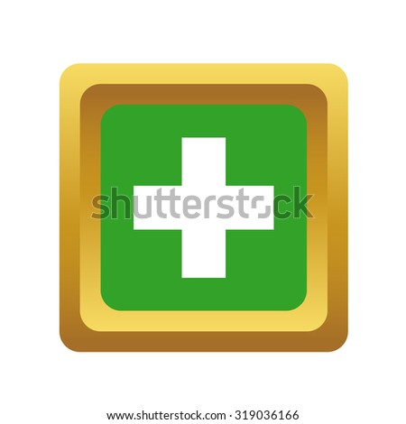 Add button, square, volumetric, colored, isolated on white - stock photo