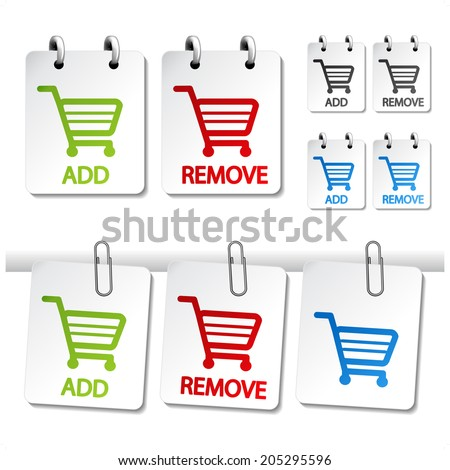 add delete shopping cart item, buttons of shopping trolley - stock photo