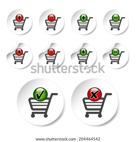 add delete shopping cart item, buy button - shopping trolley - stock photo