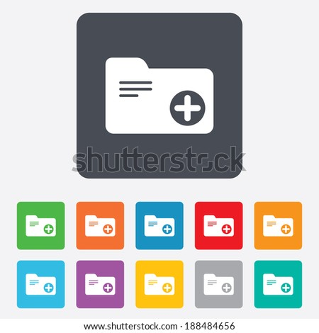 Add document folder sign. Accounting binder symbol. Bookkeeping management. Rounded squares 11 buttons. - stock photo