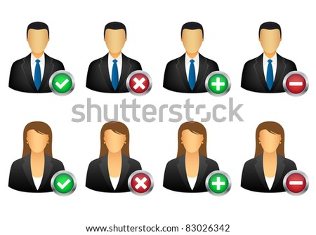 add remove user icons. Vector available. - stock photo