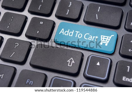 Add to cart button, for e-commerce shopping card concepts. - stock photo