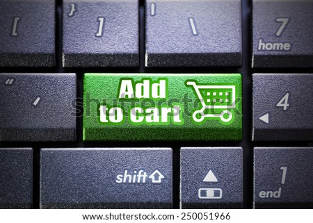 Add to cart button on the computer keyboard - stock photo