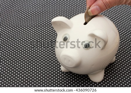 Added to your Saving, A white piggy bank black and white background