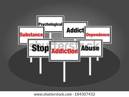 Addiction signs - stock photo