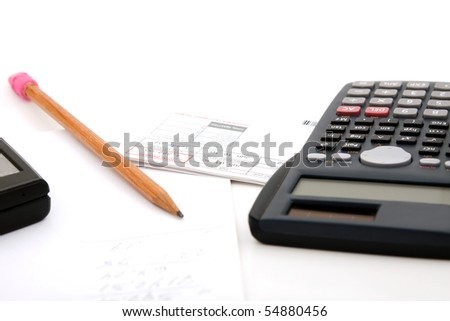 Adding up the monthly expenses for household accounting.  A calculator pencil and paperwork.  isolated over white. - stock photo
