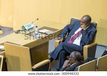 Addis Ababa - July 28: Ato Bereket Semon awaits the arrival of President Obama on July 28, 2015, at the AU Conference Centre in Addis Ababa, Ethiopia. - stock photo