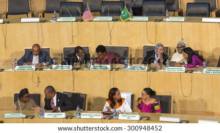 Addis Ababa - July 28: Commissioners and high level delegates of the AU Commission await the arrival of President Obama on July 28, 2015, at the AU Conference Centre in Addis Ababa, Ethiopia - stock photo