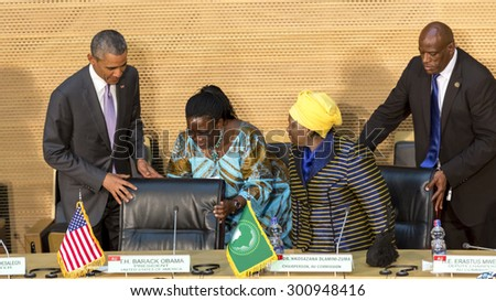 Addis Ababa - July 28: President Obama and Dr. Dlamini Zuma, take their designated seats at the Nelson Mandela Hall of the AU Conference Centre, on July 28, 2015, in Addis Ababa, Ethiopia. - stock photo