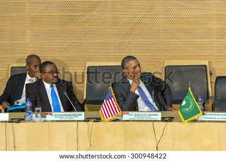 Addis Ababa - July 28: President Obama and Prime Minister Hailemariam Desalegn attentively listen to the speech ofDr. Dlamini Zuma, Chairperson of the AUC, on July 28, 2015, in Addis Ababa, Ethiopia. - stock photo