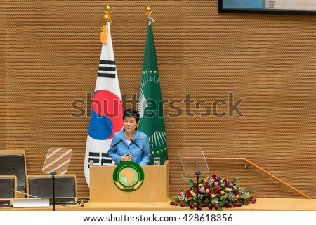 Addis Ababa, May 27, H.E., MME, Park Geun-Hye, President, Republic of Korea, delivers a speech during her visit to the African Union Commission on May 27, 2016, in Addis Ababa, Ethiopia. - stock photo