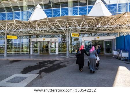 Addis Abeba, Ethiopia - December 3th 2015 - Sunny day in the International airport of Addis Ababa, capital of Etiophia, Africa - stock photo