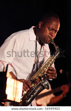 ADDISON, TX - JULY 10 : Saxophonist of Fingerprints band performs at July Jazz event on July 10, 2010 in Addison, TX - stock photo