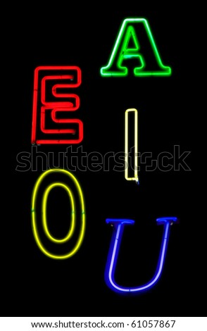 Additional vowels for neon alphabet sets - stock photo
