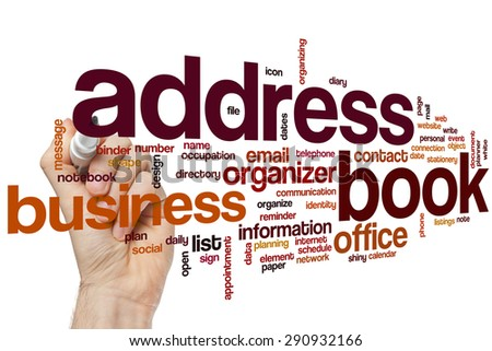 Address book word cloud concept - stock photo