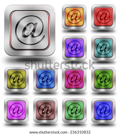 Address symbol,  aluminum, steel, chromium Address glossy icons, crazy colors