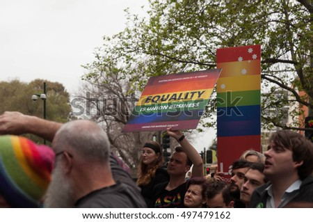 ADELAIDE, AU - SEPTEMBER 4, 2016: South Australians supporters of marriage equality gather outside Parliament House in opposition to the Australian Federal Government's plan for the 2017 plebiscite.